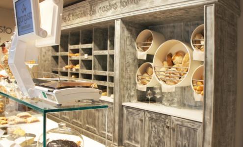 retrobanco panetteria in legno tinto