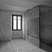 Infisso e scuro su misura con stampa Palazzo Rhinoceros - bianco e nero