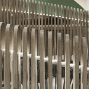 Café 875 National Museum of Qatar by Devoto Design detail of the seat back