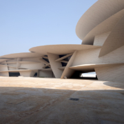 Museo nazionale del Qatar: vista esterna del cantiere giorno