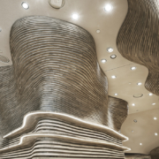 Detail of the wooden cladding supplied by Devoto for the museum of Qatar