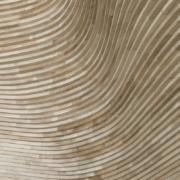 Museo nazionale del qatar gift shop: dettaglio rivestimento in doppia curvatura di legno di rovere fingerjoint