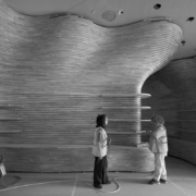Installation of the wooden canyon or National museum of Qatar gift shop by Devoto Design