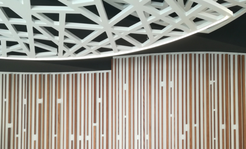 bespoke wooden lamps and cladding