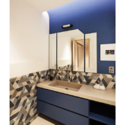 bespoke vanity unit in blue painted wood