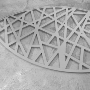 Detail of CNC-cut in MDF and painted