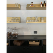 Detail of back counter of Opera bakery shop, designed and delivered by Devoto Design