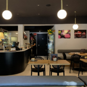 Detail of furniture and counter of Opera bakery shop, designed and delivered by Devoto Design