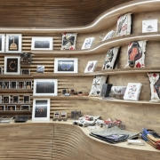curved display shelves in wood