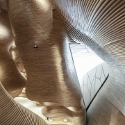 double-curving wood cladding