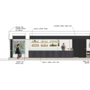 Bakery design elevation by Devoto Design
