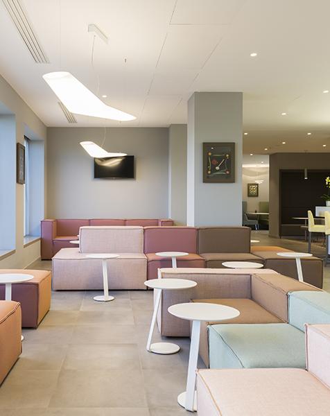 Hampton by Hilton Rome East common areas delivered by Devoto Design