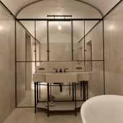 luxury vanity unit in marble, brass and mirror