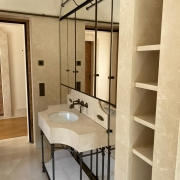 custom-made interiors in marble, brass and mirror